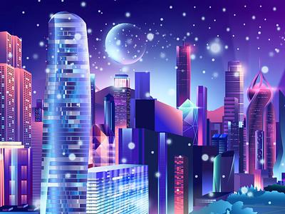 City Moon outrun vectorart modern arte vector pabloladosa synthwave illustration design illustrator