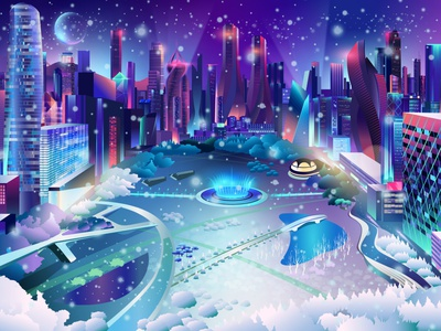 Park in Winter neon outrun vectorart vector synthwave contemporary illustration ladosa pabloladosa illustrator