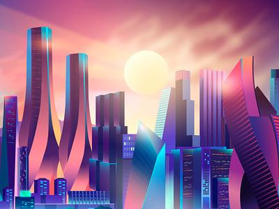 Sunny days vectorart synthwave vaporwave pabloladosa ladosa sky sunny parks illustrator