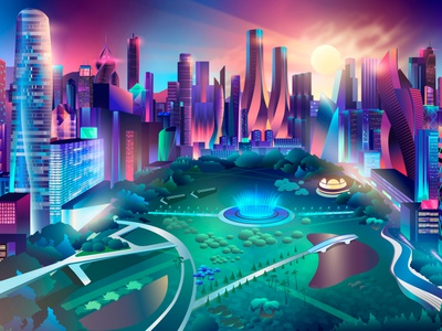 Sunny days in the park contemporary vector illustrator synthwave citypark ladosa pabloladosa illustration sun