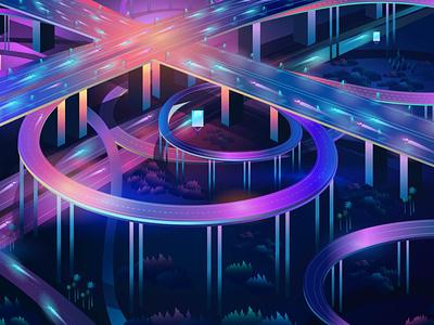 Intersection outrun contemporary synthwave pabloladosa vectorart illustration design illustrator detail