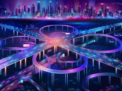 Intersection / Cyberpunk / Synthwave Illustration neon outrun contemporary synthwave illustration vectorart design vector illustrator pabloladosa