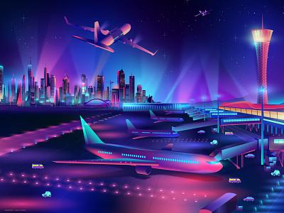 Airport ladosa branding contemporary synthwave illustration pabloladosa vectorart vector design illustrator