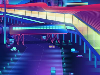 Airport detail ladosa neon contemporary synthwave vector pabloladosa illustration vectorart design illustrator