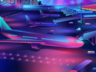 Airport detail outrun contemporary synthwave illustrator vector vectorart illustration pabloladosa design plane