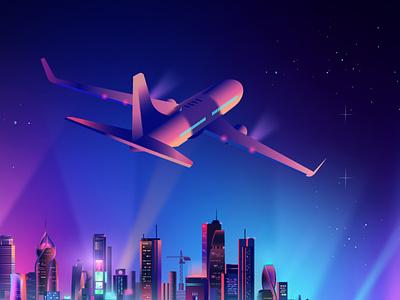 Plane over city neon contemporary synthwave pabloladosa design illustration vectorart vector illustrator