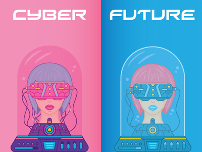 Cyber Future hi-tech technology girls future girl vector illustration flat character person