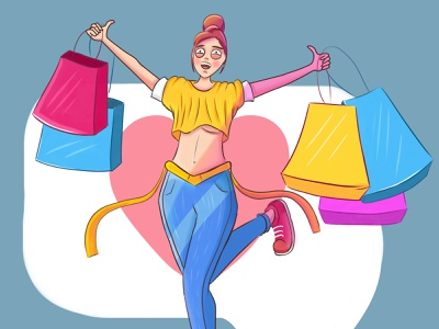 Shopping magazine enjoy simple sketch lineart person girl illustration character shopping