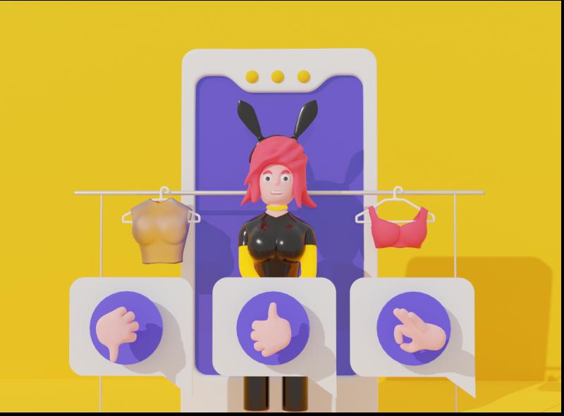 Virtual dressing room illustration virtual application app future dressing room 3d blendercycles people peoples character girl 3d art blender3d blender3dart