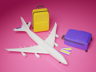 Travel pack advertising lifestyle tourismpack tourism airplane plane abstract blender3dart blender3d 3d art 3d tour