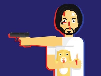 John Wick film person move character john wick animals people vector flat character
