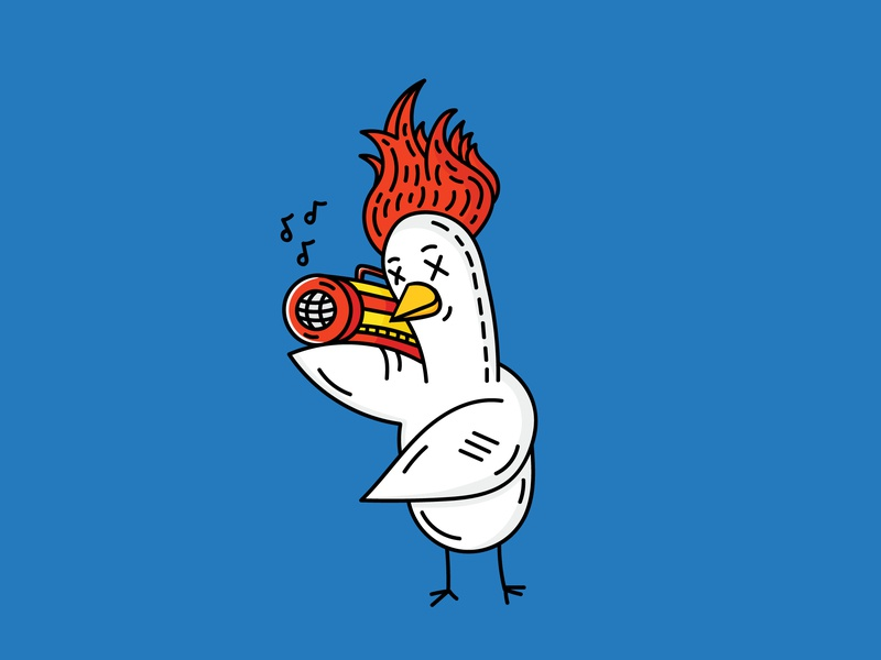 Duck person animal happy fire music duck illustration picture vector character