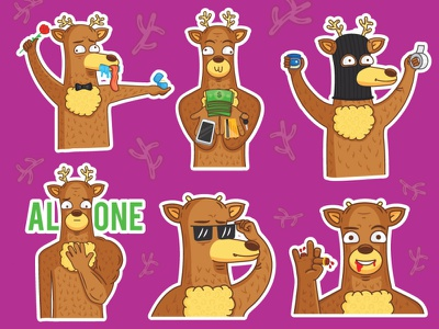 Loving deer vol.2 drawing telegram stickers sticker deer deers picture illustration animals person character