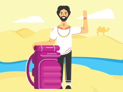 Travel picture happy people illustration person vector character flat travel