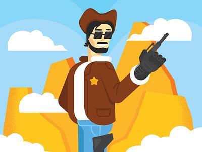 Texas robotic person illustration flat character futurewave future
