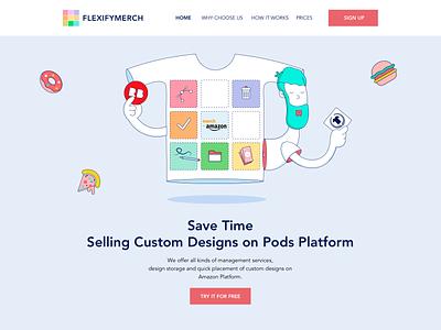 Flexify Merch Landing Page website graphics icons logo vector cartoon ui  ux design branding web graphic design illustraiton