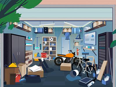 The Garage is in chaos Illustration vector illustraion ui web cartoon illustration art graphic design digital drawing