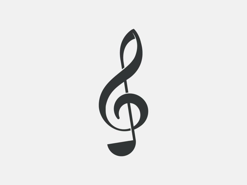 Kitchen Beats treble clef clef combination logo note musical ladle kitchen music logo