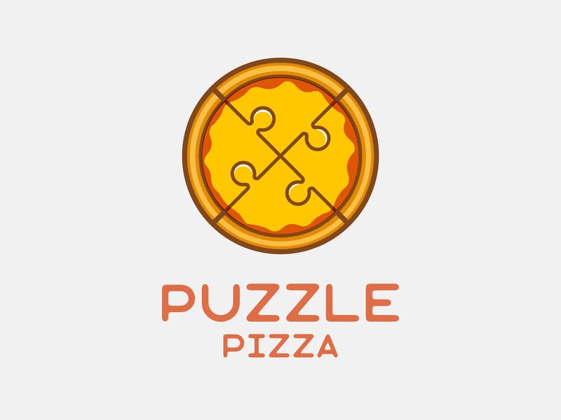 Puzzle Pizza fastfood food puzzle pizza logo pizza