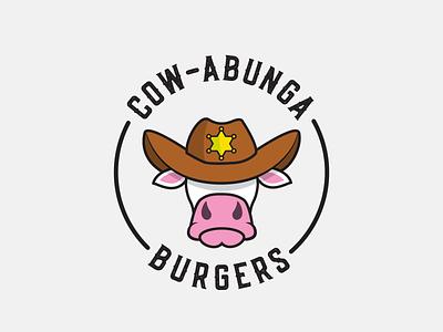 Cow-abunga Burgers fastfood fast cow cute burger animal logo