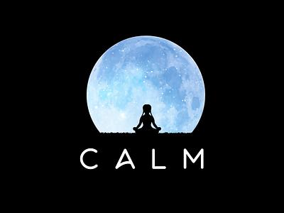 Calm mediation moon logo calm