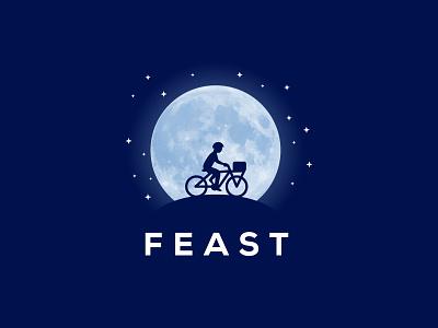 Full Moon bike logo night sky stars moon