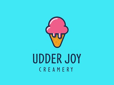 Udder Joy Creamery branding brand logo-designer logo-design design logo cow icecream ice-cream milk creamery joy udder