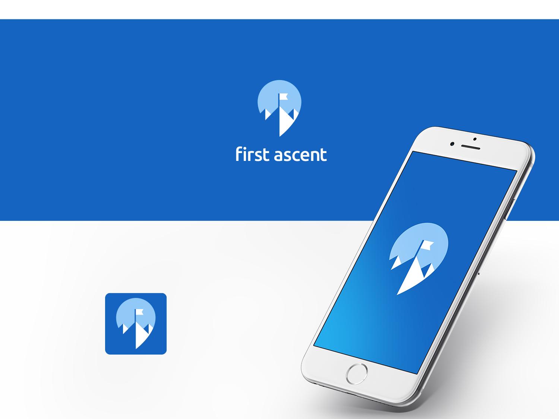 First Ascent pin location-pin location pin location mountain app branding app-icon app logo