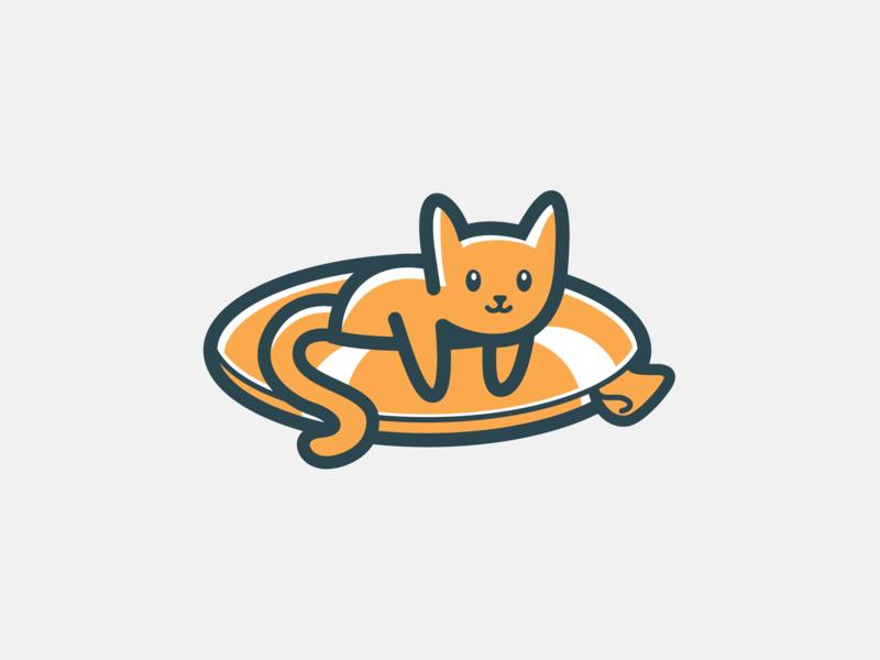 Saved! logo cute animal kitten cat