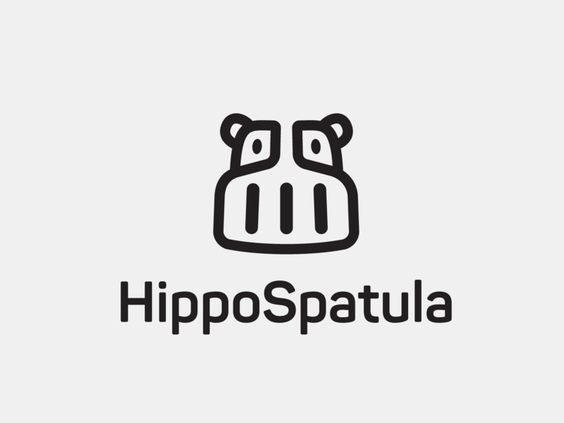 Hippospatula cooking hippopotamus logo spatula hippo