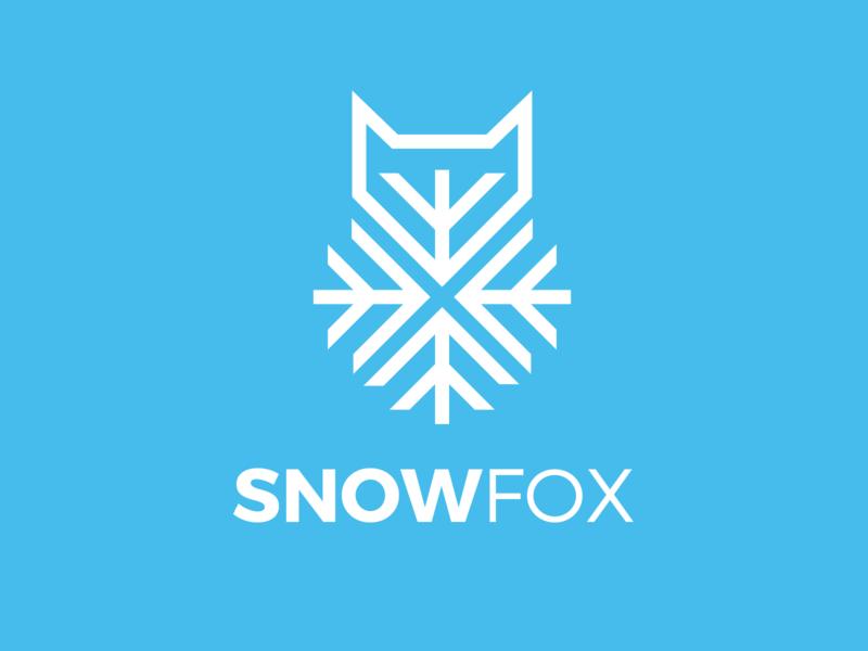 Snow Fox snowflake ice branding animal fox snow logo