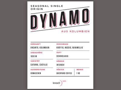 Dynamo Coffee Label (full) label coffee tungsten rounded tungsten gotham rounded gotham typography simple