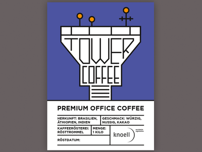 Tower Coffee Label (full) line art illustration tabular airport tower typography label gotham coffee