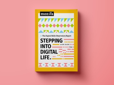 Stepping into Digital Life, Mozilla research report colorful geometric cover print book design