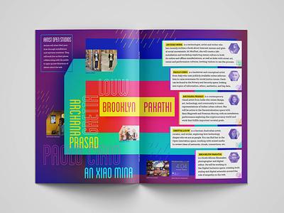 Mozfest Artists profiles unconventional layout colorful book design print