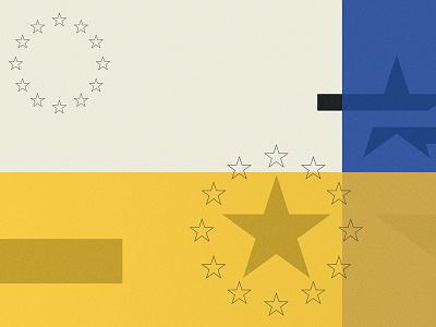 European Disunion crisis blue yellow black star editorial union disunion european poster