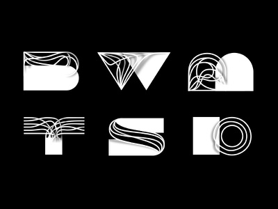 Wire Letters experiments wire black and white letters type