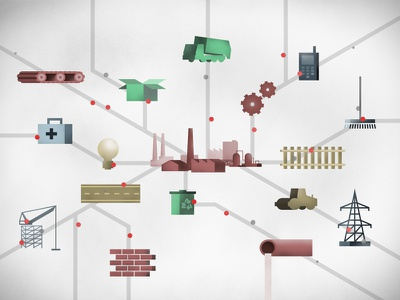 Supply Chain info graphic connected map workspace educational supply chain illustration explainer