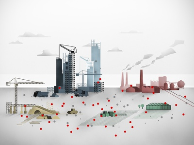 Sectors workspace educational supply chain illustration explainer