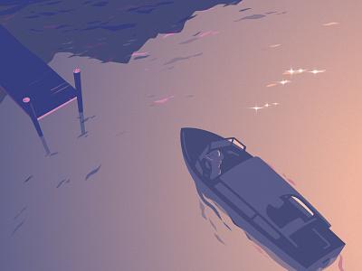 Lake sunset reflection graphic waves gradient boat illustration