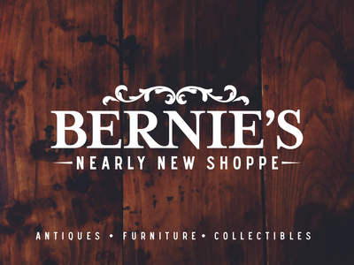 Bernie's Nearly New Shoppe Logo hat tshirt branding antiques flourish logo design flat vintage rebrand