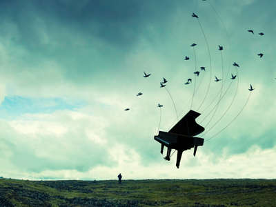 Poster Design: Rachmanioff's Third print peaceful design posterdesign birds whimsical photoshop surreal imagery piano