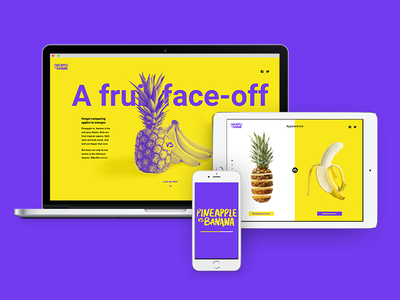 A fruit face-off 🍍🍌 ux interface experience user responsive digital yellow website design ui