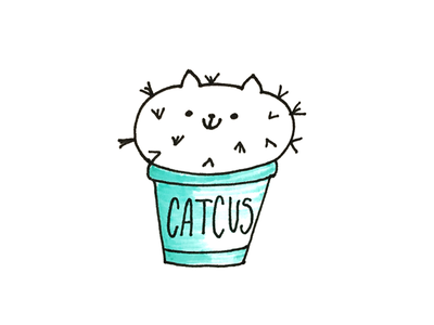 Catcus design fun doodle cactus flat handdrawn illustration