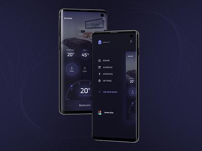 Smarty | SmartHome App dark application smarthome smart android ios design mobile app ui app design app