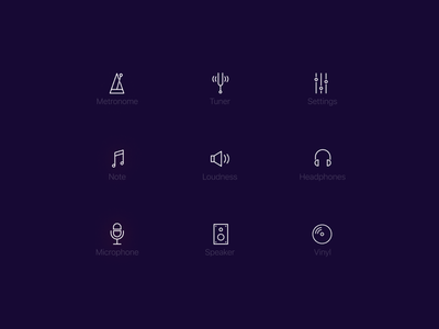 Music Icons headphones loudness vinyl microphone note speaker tuner settings metronome music icons