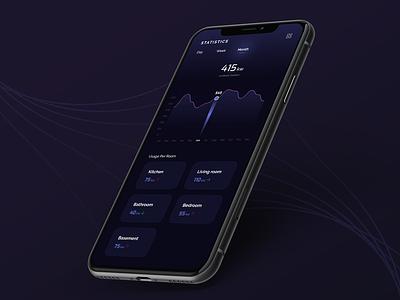 SmartHome App - Statistics Screen dark smarthome design ui ios android app design mobile app app