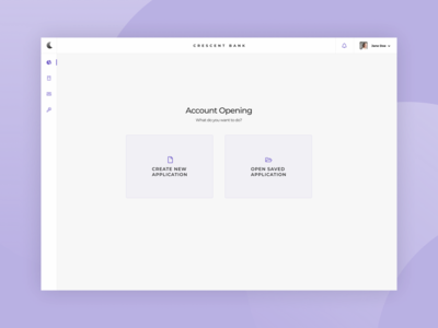Bank Account | Opening Screen