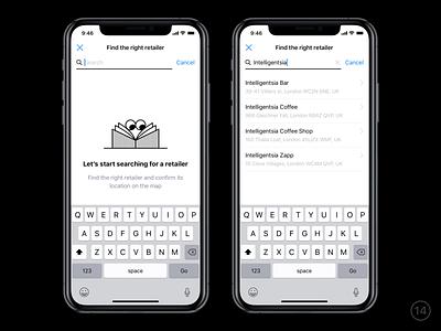 Improve retailer name illustration improvements sketch interaction search retailer wallet app banking ios mobile ux ui