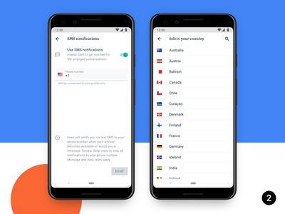 Select your country flags settings phone number code country android 10 ux ui product design concept mobile app android
